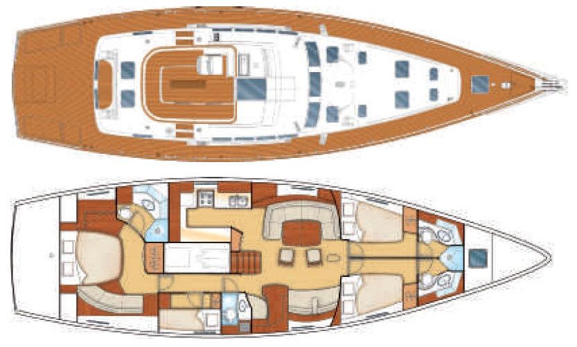 Layout Plan Beneteau 57, 4 guest cabins 4 bathrooms