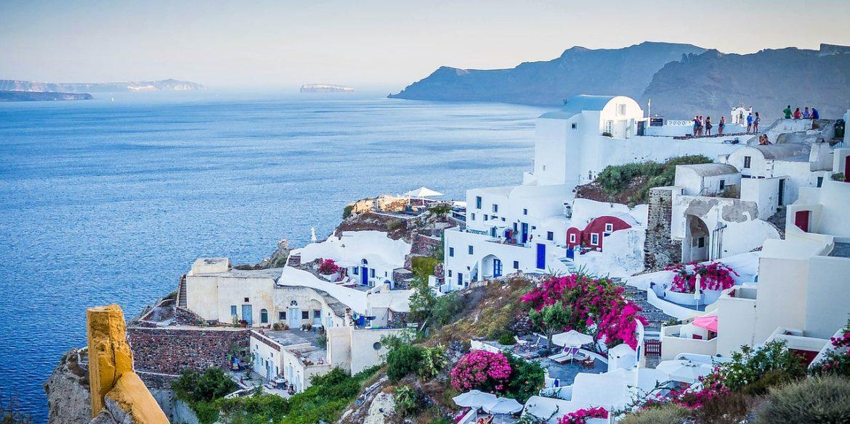 Santorini whitewashed village