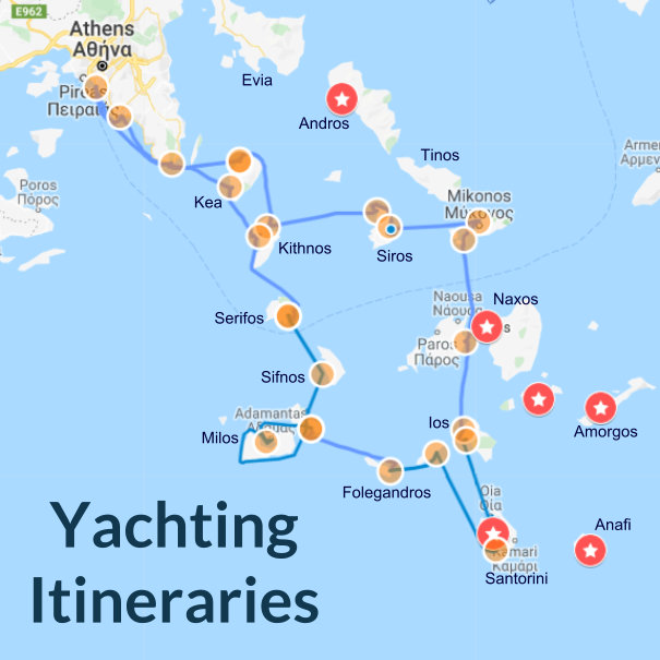The best luxury yacht charter itineraries including anchorages, photos and description.
