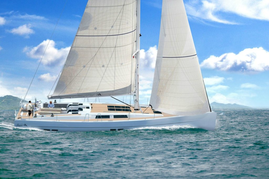 Hanse 575 charter yacht under sail with a minimal crew.