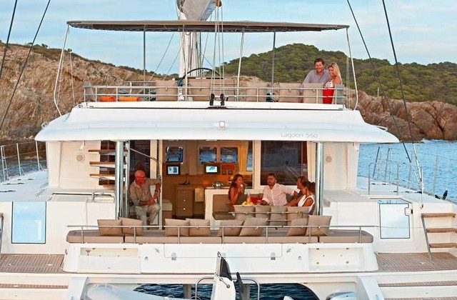 A Catamaran charter yacht has lots of deck- and interior space.