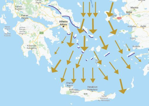 Meltemi winds when chartering in Greece during the summer months.