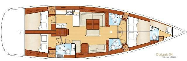 Layout Oceanis 54 yacht charter Greece